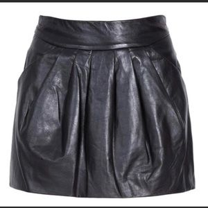 DVF Black Leather Skirt, Size 8